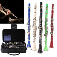 1Set 17 Key Nickel Plated Muticolor Clarinet With Reed Mouthpiece Case Cover Box For Woodwind Musical