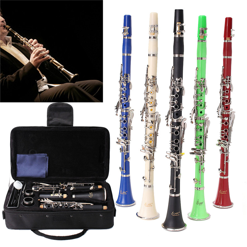 1Set 17 Key Nickel Plated Muticolor Clarinet with Reed Mouthpiece Case Cover Box For Woodwind Musical Instruments Lover Beginner