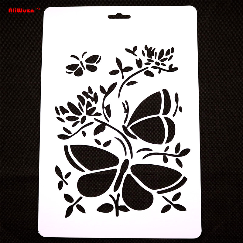 Online Shop 1pcs Lot 305 21cm Large Butterfly And Other Patterns Engraving Template Multi Function Drawing Stencil