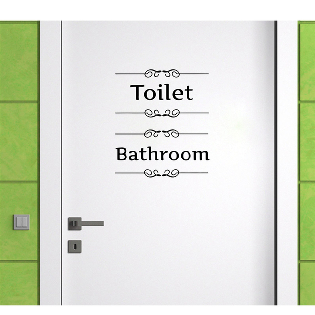 [Hot New Product] Text Wall Stickers Toilet Bathroom Door Vinyl Classic Black And White Decorationl Art Stickers Free Shipping 4