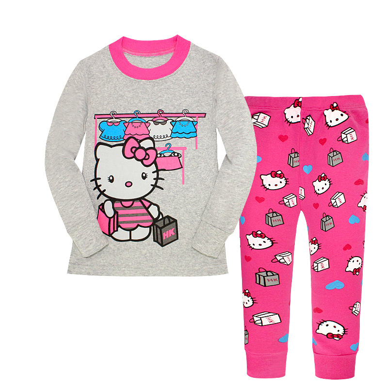 Hot Sale New 2018 Casual Girls Clothing Set Spring Kids Clothes Hello Kitty Cartoon Sleeve Pullover Print Sports Suit 2-7 Year
