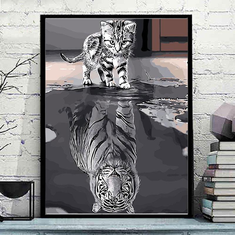 ART DRAW No Frame Cat Reflection Tiger Animal DIY Painting