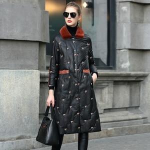 Женская куртка из натуральной кожи, зимние куртки с вышивкой и воротником из меха норки, пальто из овчины, Z1135