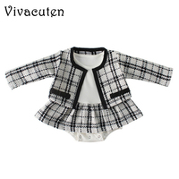 Fashion Baby Bodysuit for Girls Plaid Infant Jumpsuit Baby Girl Bodysuit with Coat Baby Onesie Toddler Clothes Baby Costume B135