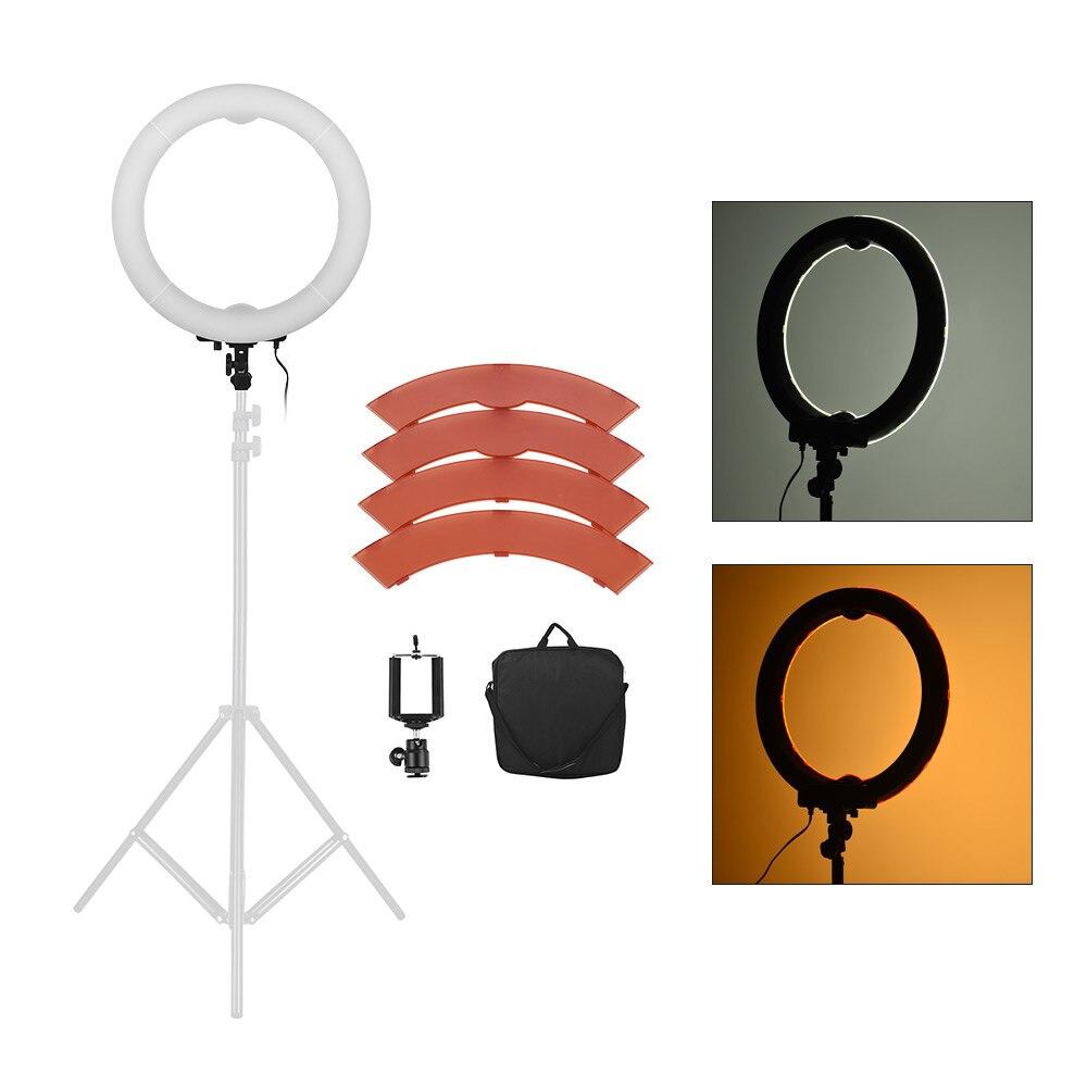 Andoer 5500K 36W 360 LED anneau lumière Kit photographique éclairage Studio/téléphone/vidéo photographie anneau lampe lumière avec trépied support-in Éclairage photographique from Electronique    1