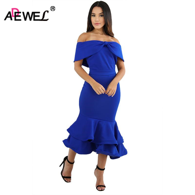 ADEWEL Newest Autumn Women Off Shoulder Mermaid Dress Bow Cape Sexy Bodycon Double Ruffles Dresses Elegant Midi Party Dress