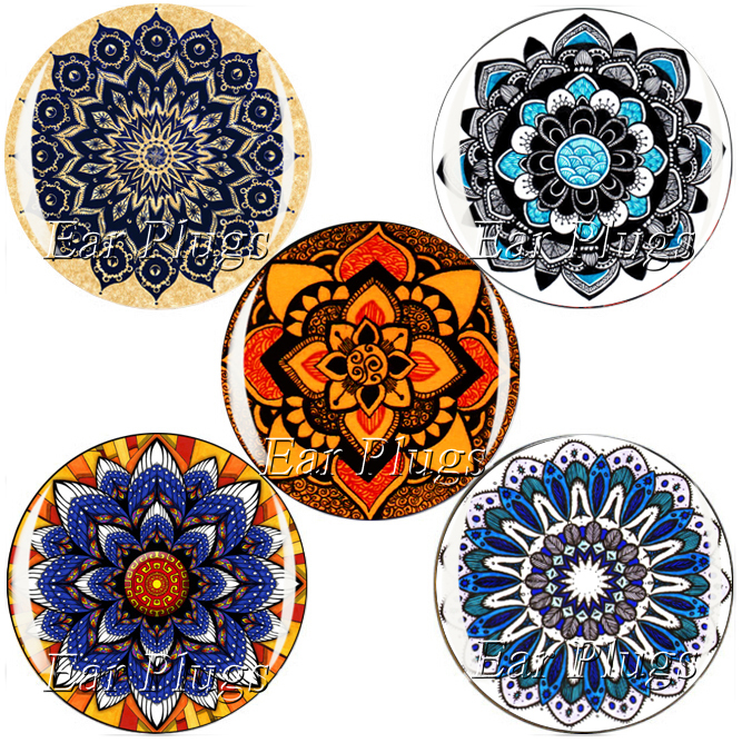 60pcs/lot mandala series plug gauge acrylic screw ear plug flesh tunnel piercing body jewelry 6mm-25mm MP007