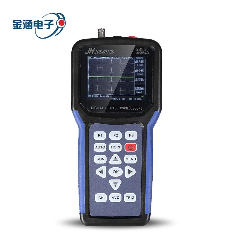 Jinhan Jds2012s Palmare Oscilloscopio a memoria Digitale 1CH 25 mhz 200msa/s Scopemeter 4000 Count multimetro Digitale 3.2 pollici TFTLCD