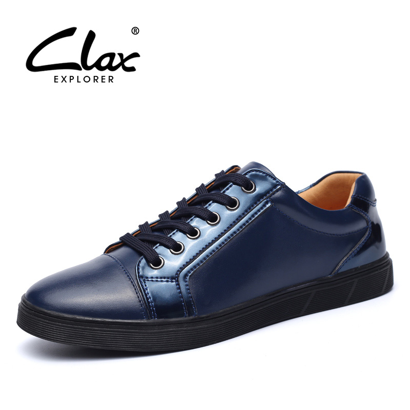 CLAX Casual Shoes Mens Spring Autumn Leather Shoe Male Genuine Leather Fashion Footwear British Style Flats Soft Blue Black real autumn winter shoes men genuine leather lace up mens casual handmade fashion luxury brand flat breathable flats male shoe