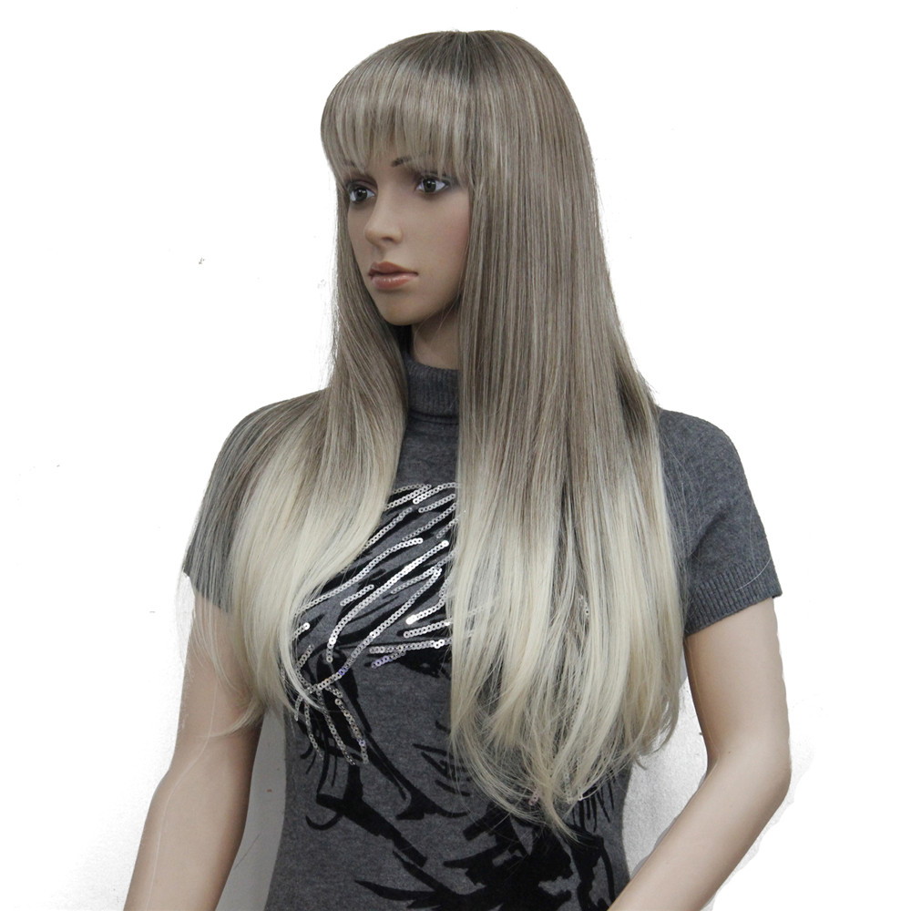Image 5 - Perruque synthétique complète Ombre Blonde longue lisse  Perruque à frange soignée pour femmes, perruque Ombre pour femmesSynthétique Aucun-Dentelle Perruques   -