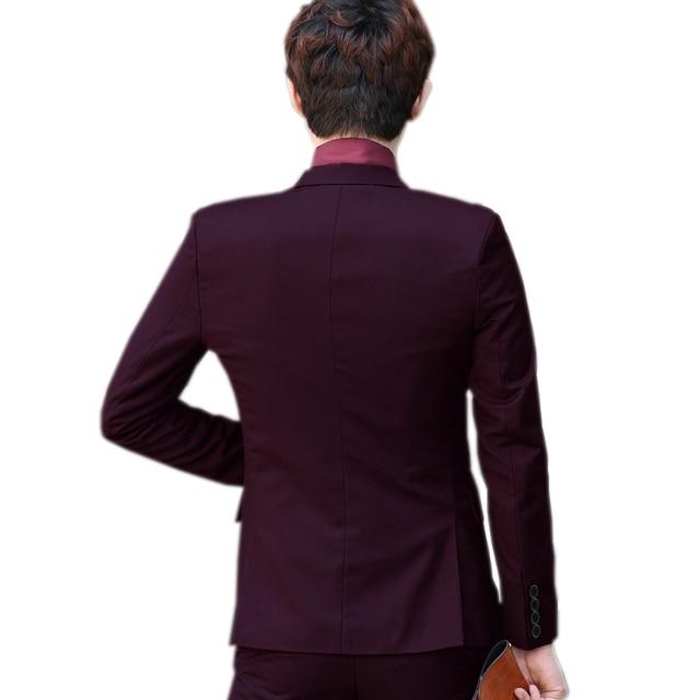 (Jacket+Pant+Tie) Luxury Men Wedding Suit Male Blazers Slim Fit Suits For Men Costume Business Formal Party Blue Classic Black 2