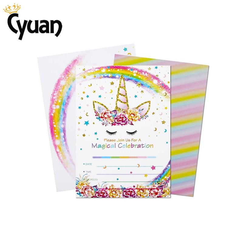 Birthday Cards With Envelope Unicorn Theme Invitation Card