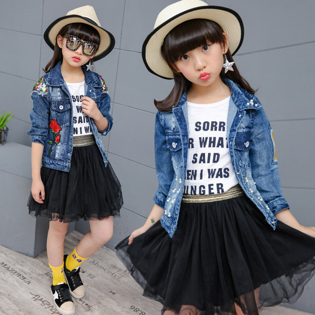 Clobee Teenage Girls Denim Jacket Kids Girls Teenage Outerwear Coat