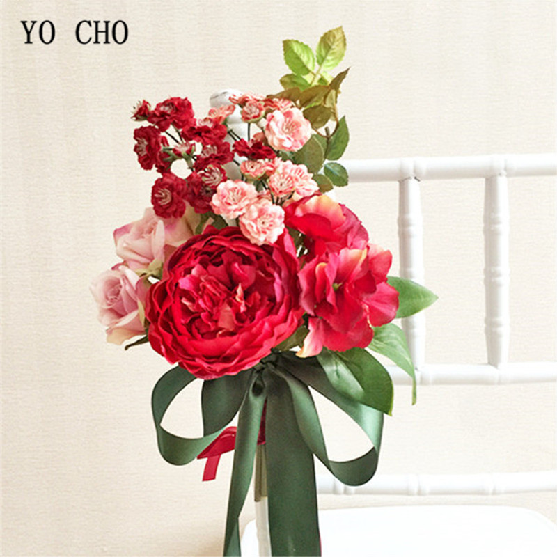 YO CHO Home Decoration Red Peony Hand Bouquets Chair Back Satin Flowers Church Office Furniture Wedding Accessories Flowers DIY