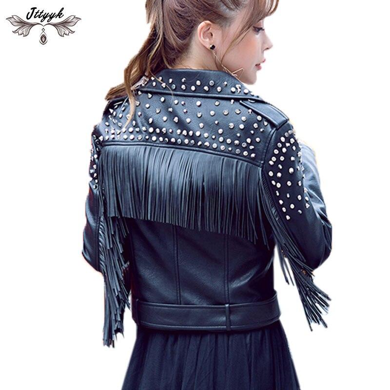 2019 jesień kurtka skórzana kobiety frędzlami nit Punk style kurtka ze skóry zamszowej lokomotywa krótki płaszcz motocykla odzieży wierzchniej LJ605 w Skóra i zamsz od Odzież damska na  Grupa 1