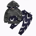 2016 Baby Boys Girls Winter Warm Thick Outfits Autumn Deer Hooded Top+Pant Leggings Kids Clothes deer printed Kids suits