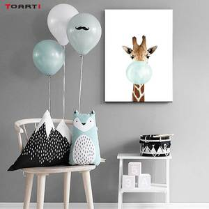 Image 5 - Cartoon Ballon Tiere Poster Druckt Moderne Green Leaf Leinwand Malerei Auf Die Wand Giraffe Koala Nordic Kunst Bilder Home Deco