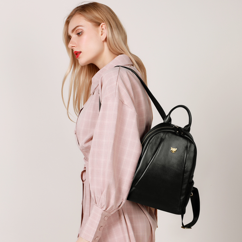 Foxer Scholly Girl Leather Commuter Style Backpack Black
