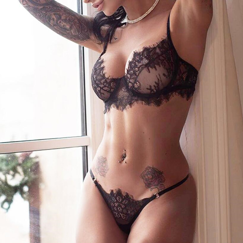 Sexy Bra Set Lace Transparent Underwear Set Women Sexy Lengerie Hot Erotic Push Up Wire Free Bralette Seamless G string Panties