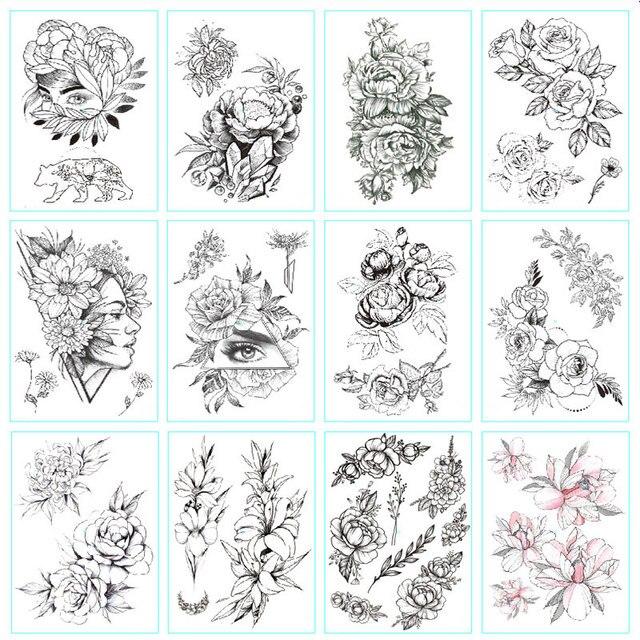 Fashion Black White Flower Tattoo Sticker Women Body Art Peony Rose Waterproof Water Transfer Temporary Tattoo 1