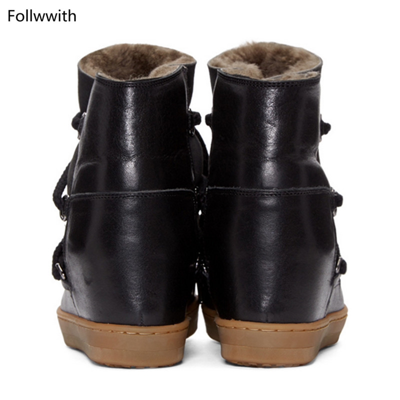 Brun Hiver Bottes Neige Chaussures Pic Réel Hauteur Croissante Noir Wedge Cuir En As Femmes Lacets À Bottines Fourrure as Mode Chaud De P Pic qtYwAgxrYI