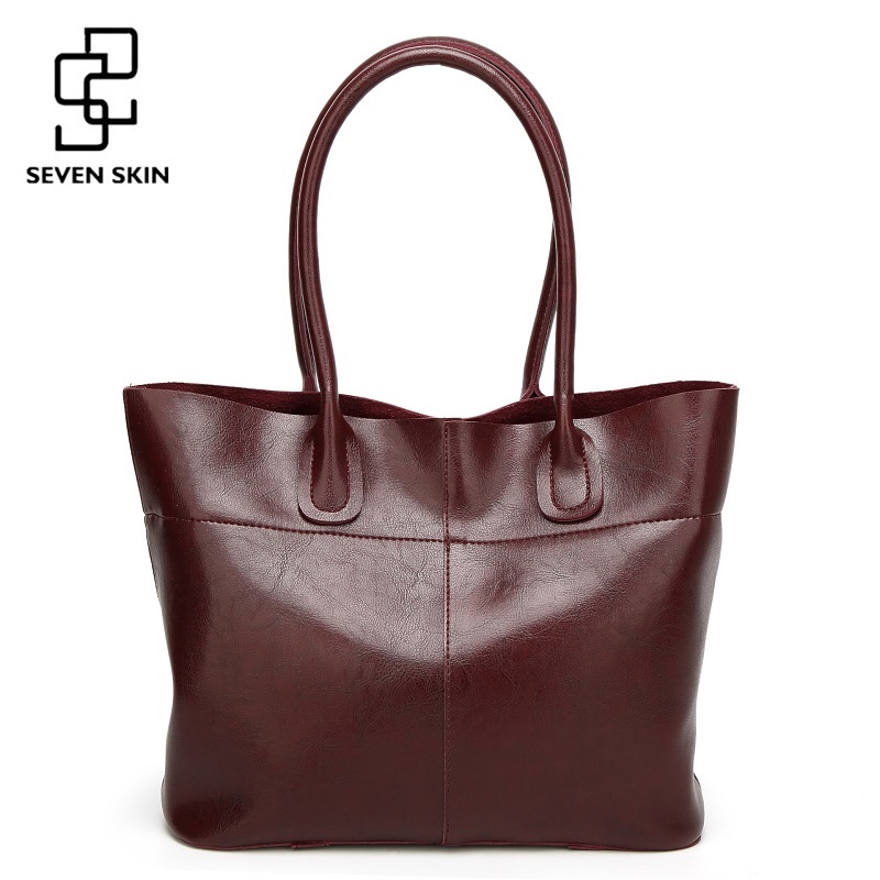 SEVEN SKIN Brand 2017 Top-Handle Women Shoulder Bags Fashion Solid Leather Women's Handbags Female Large Tote Bag bolsos mujer seven skin brand women shoulder bag female large tote bag ladies pu leather top handle bags luxury handbags women bags designer