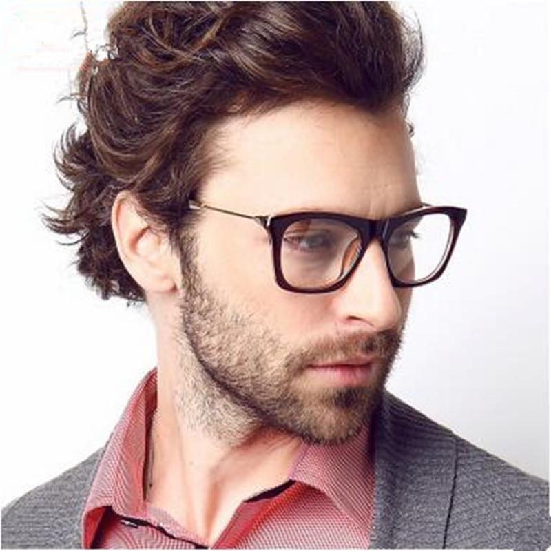 2016 Brand New Designer Cat Eye Glasses Tr 90 Retro Fashion Black Men Glasses Frame Clear Lens