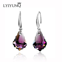 2016 Luxury brincos long earring 5 colors artificial cristal Maple leaves drop earrings for women fashion jewelry(China)