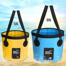 SZX 12L/20L 500D folding bucket fishing waterproof buckets portable folding bag storage outdoor car wash camping fishing bucket недорого