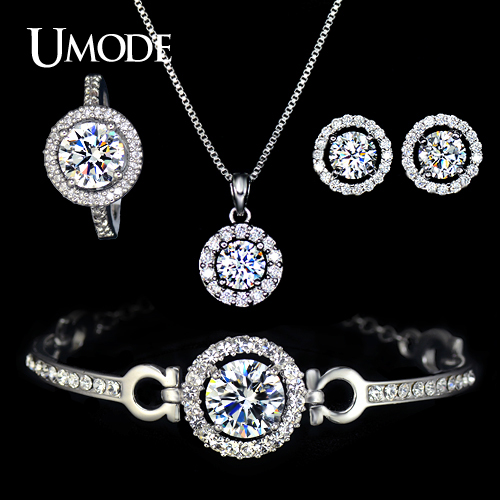 Umode nice ladies jewelry set including charm bracelet cute cz umode nice ladies jewelry set including charm bracelet cute cz earrings bague femme chain pendant mozeypictures