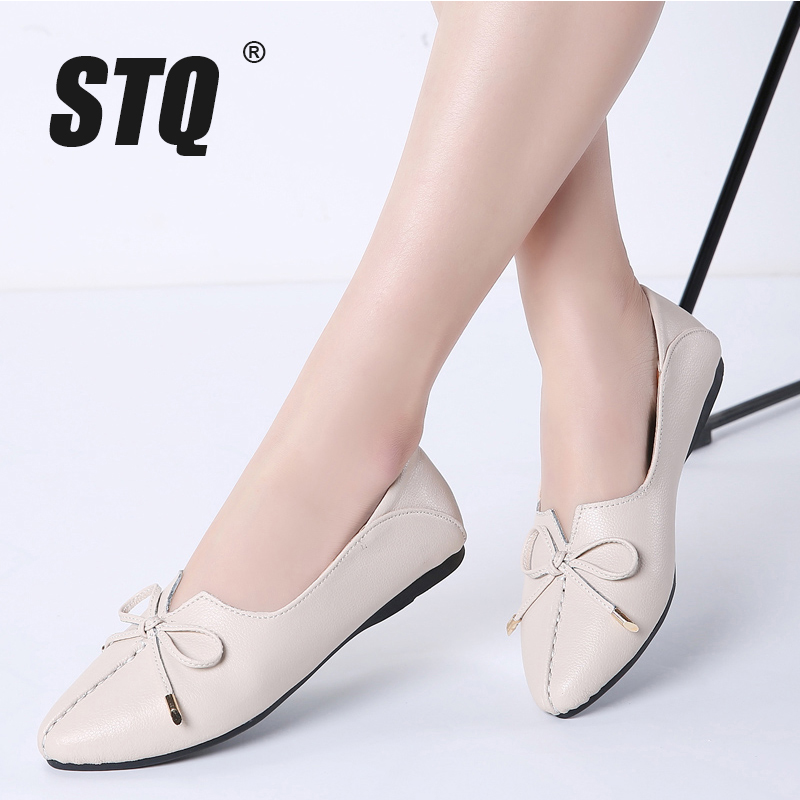 STQ Woman Shoes Moccasins-Loafers Ballet-Flat-Heel-Shoes Genuine-Leather Slip On Bowknot