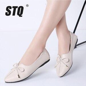 Image 1 - STQ zapatos de Ballet para mujer, calzado de tacón plano de piel auténtica sin cordones con lazo, mocasines de trabajo, otoño 2020