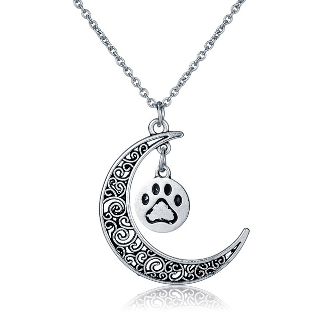 Dog lover necklace dog paw pendant paw print jewelry paw and moon dog lover necklace dog paw pendant paw print jewelry paw and moon pendant gift for dog mozeypictures Gallery