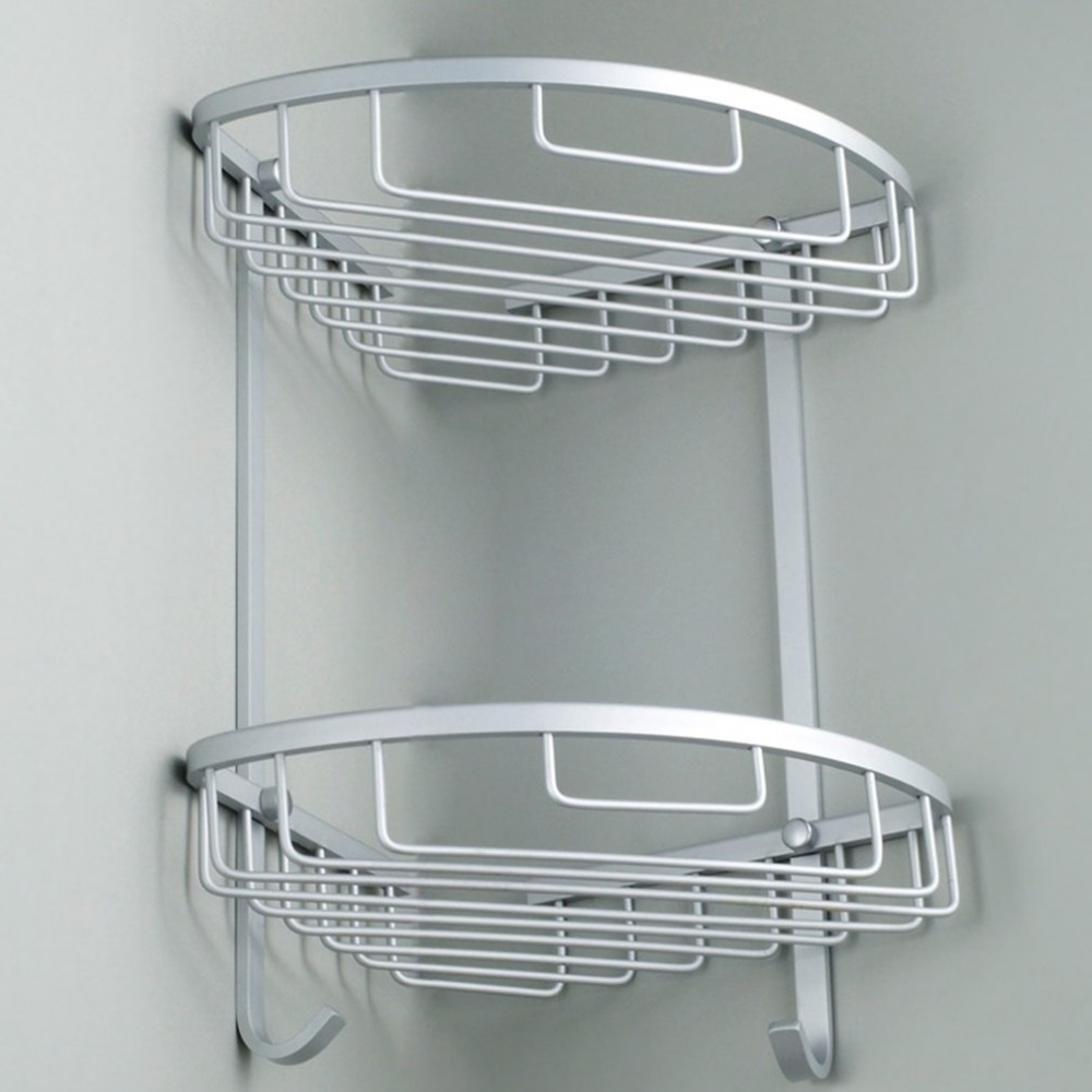 Double Tiers Shower Basket Bathroom Corner Shelf Aluminum Storage ...