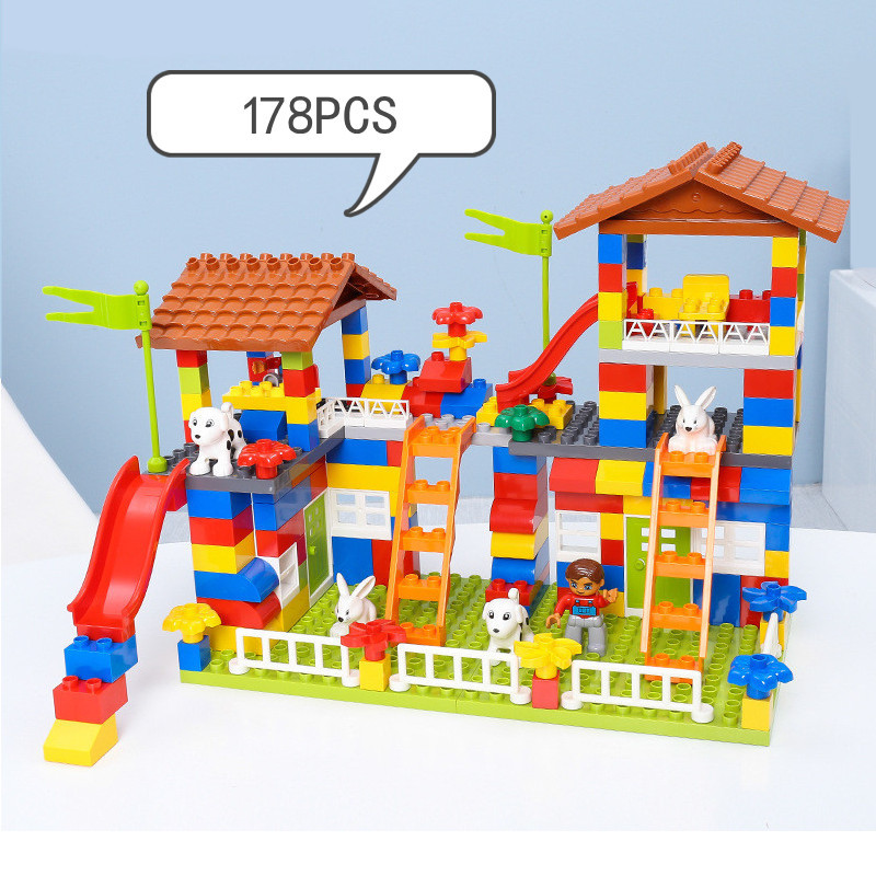 Big Particle Building Blocks Castle DIY Colorful City House Roof Educational Toys For Children Compatible LegoINGlys Duplo Slide