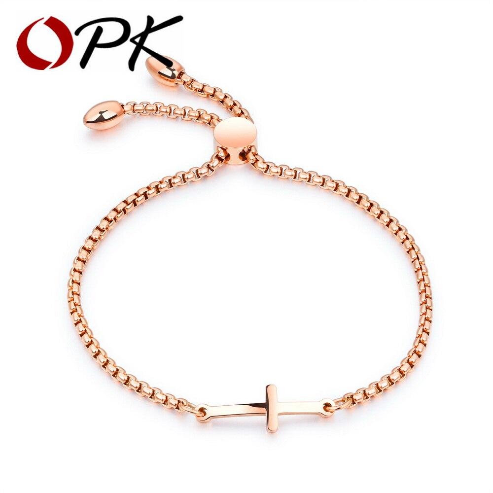 OPK charmant Bracelet croix pour femmes or Rose/or/blanc couleur longueur réglable femme dames amitié Bracelet GS893