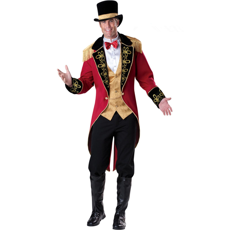Man Deluxe Monsieur Loyal Costume Magicien Partie Cirque Lion Tamer Tuxedo Fantasia déguisement