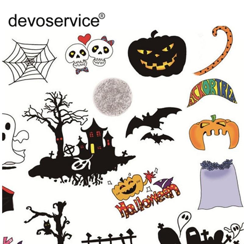 2Pcs Halloween Sticker Design Of Kawaii Skull Pumpkin Cool