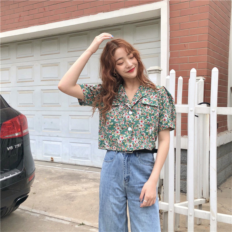 Alien Kitty Print Floral Vintage Sweet Notched Summer 2019 Elegant Casual Women Loose Retro Fashion All-Match Shirts 2 Colors