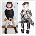 Ins * venda quente 2015 baby girl calças Imitação de couro preto & luz da cor do ouro 1-5 T crianças moda outono pano livre grátis