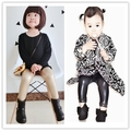 Ins * venta caliente 2015 del bebé pantalones de cuero de Imitación negro y la luz de oro de color 1-5 T niños del otoño paño de la manera del envío gratis