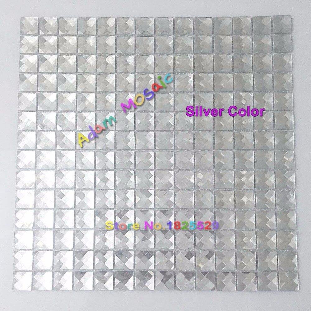 Mirror Tiles Silver Bathroom Wall Sheets Crystal Diamond Mosaic Tile ...