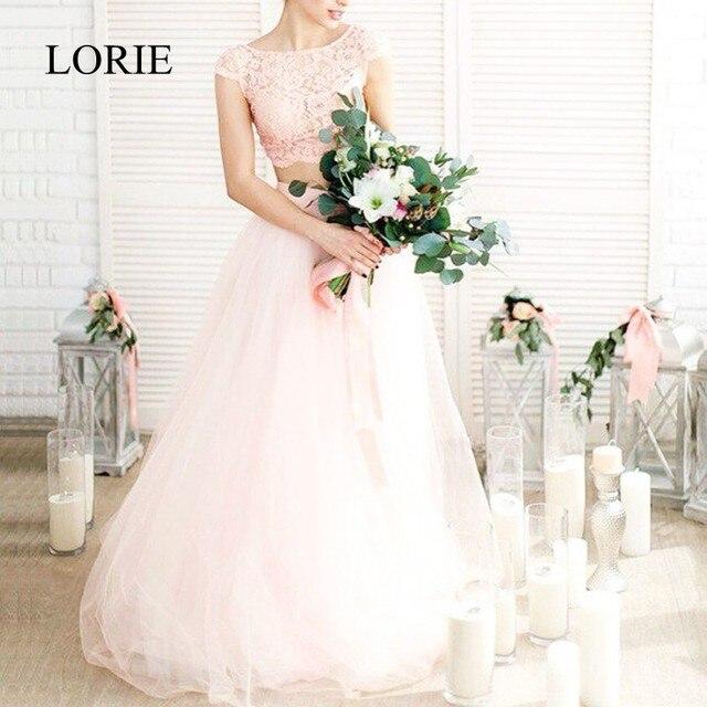 LORIE 2 Piece Wedding Dress Beach 2018 Vintage Lace Cap Top Simple Boho Bridal Dresses Robe Mariage Wedding Dresses Light Pink