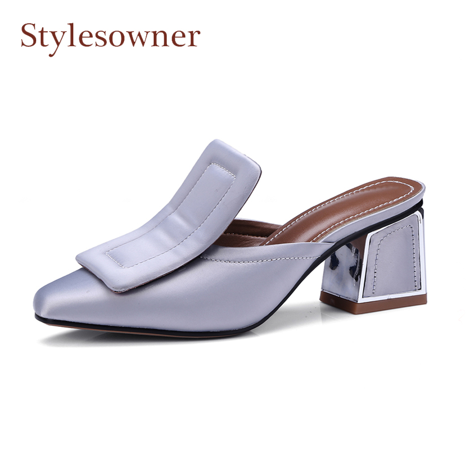 Stylesowner spring summer square buckle casual shoe women slippers satin chunky heel outwear retro style shoes lazy women sandal 2016 spring new fashion hot sale women sandal casual lace lazy shoe women flat shoe hsc20