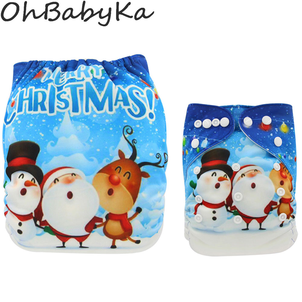 Ohbabyka Baby Suede Cloth Diaper Christmas Snowmen Position Print Pocket Diaper Nappies One Size Adjustable Reusable Diapers