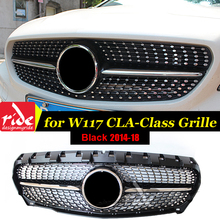 For MercedesMB W117 Diamond Front grille ABS black CLA-Class CLA200 CLA250 CLA180 CLA45 Sports Without sign Grills 2014-in