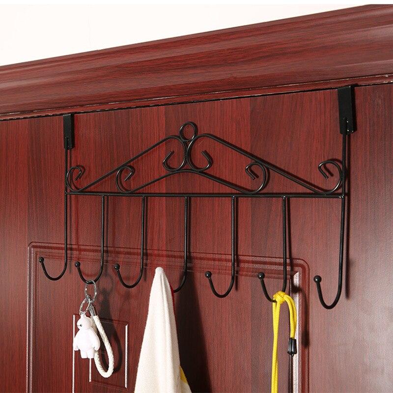urijk 1pc door back storage organizer metal rack 7 hooks hanger shelf spacesaving bedroom - Metal Clothes Rack
