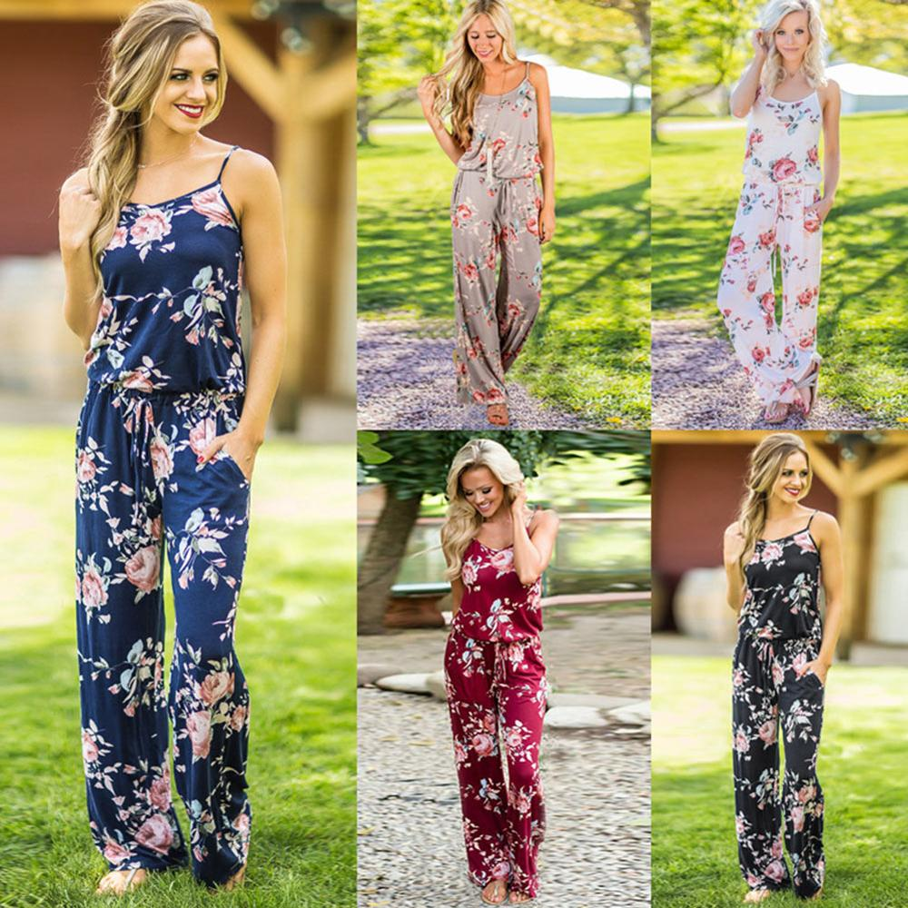 Sparsil Women Fashion Strap Jumpsuit Retro Floral Printing Loose One-piece Trousers Summer Beach Clothes Sexy Braces Jumpsuit