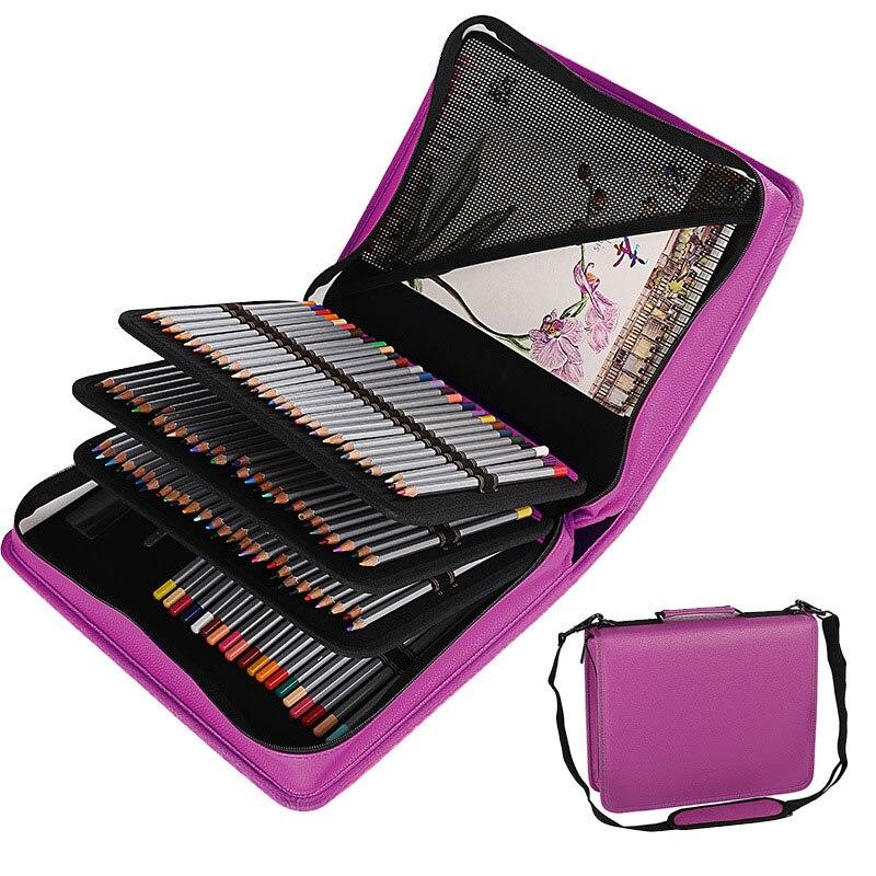 Kawaii PU cuir porte-crayon d'école 180 trous grand étui à crayons pénal pour crayons colorés spirale amovible stylo boîte sac pochette