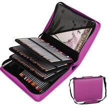 Estuche escolar de cuero PU Kawaii, estuche de lápices grande con 180 agujeros para lápices de colores, caja de lápices extraíble en espiral, bolsa de papelería